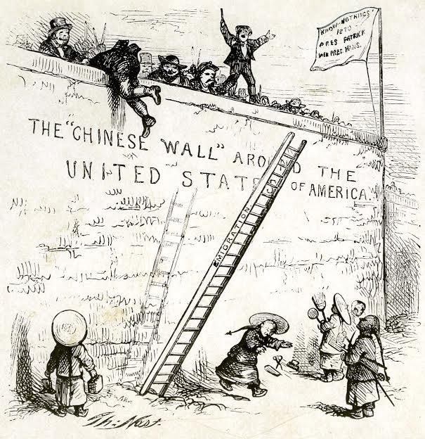رسم يصور منع المهاجرين الصينيين