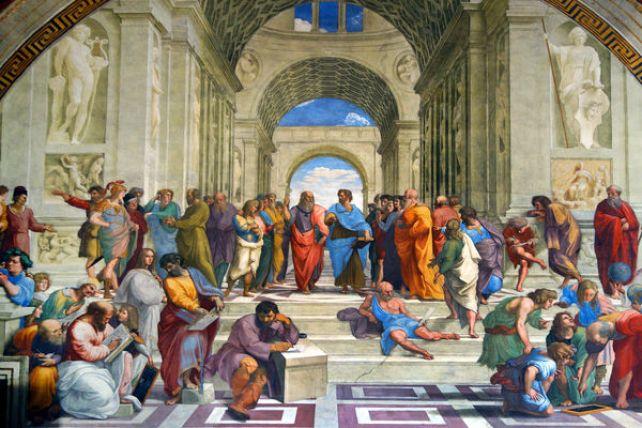 لوحة مدرسة أثينا التي تُمثل عصر النهضة الغربية