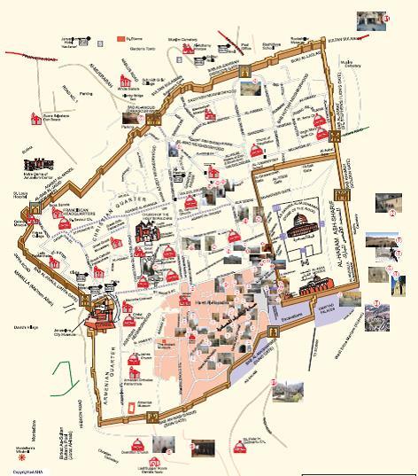 خريطة توضح الكنس اليهودية التي تقيمها سلطات الاحتلال حول المسجد الأقصى