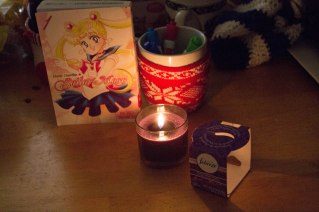 Sailor moon from the Library. I also got Death Note as well to read. A wonderful lavender candle closed the day out for a Christmas nap
