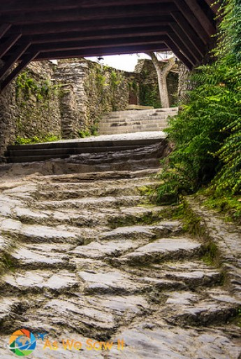 The well-worn slate Knights' Stairway