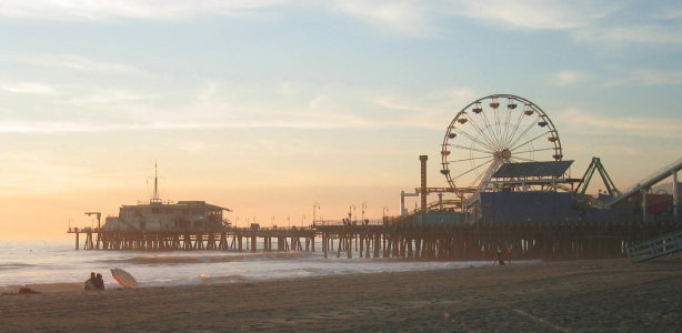 Shortly after this picture was taken the Santa Monica pier was over run by an army of frog men in the service of the Squidly Lord.