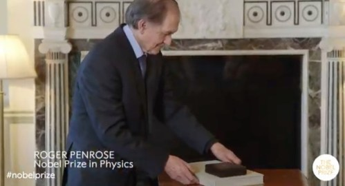 Roger Penrose accepting the 2020 Nobel Prize for Physics