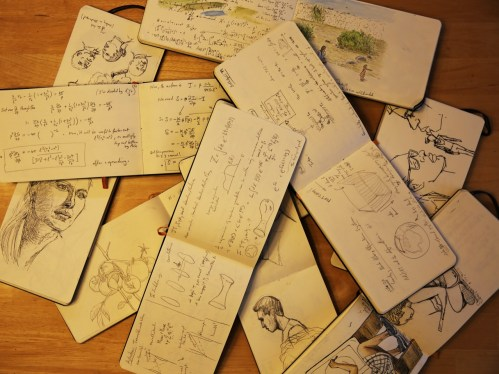 A montage of notebooks