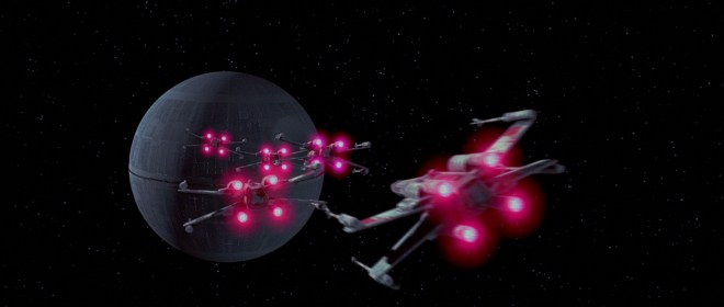 Starfighers approach the Death Star