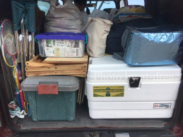キャンプ道具 車内収納