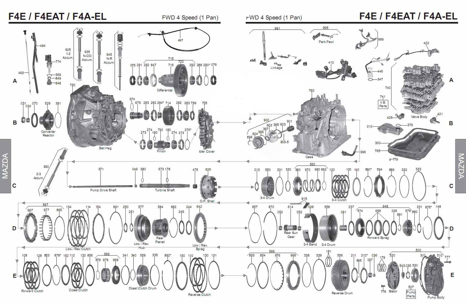 Transmission Repair Manuals F4ael 4eat F