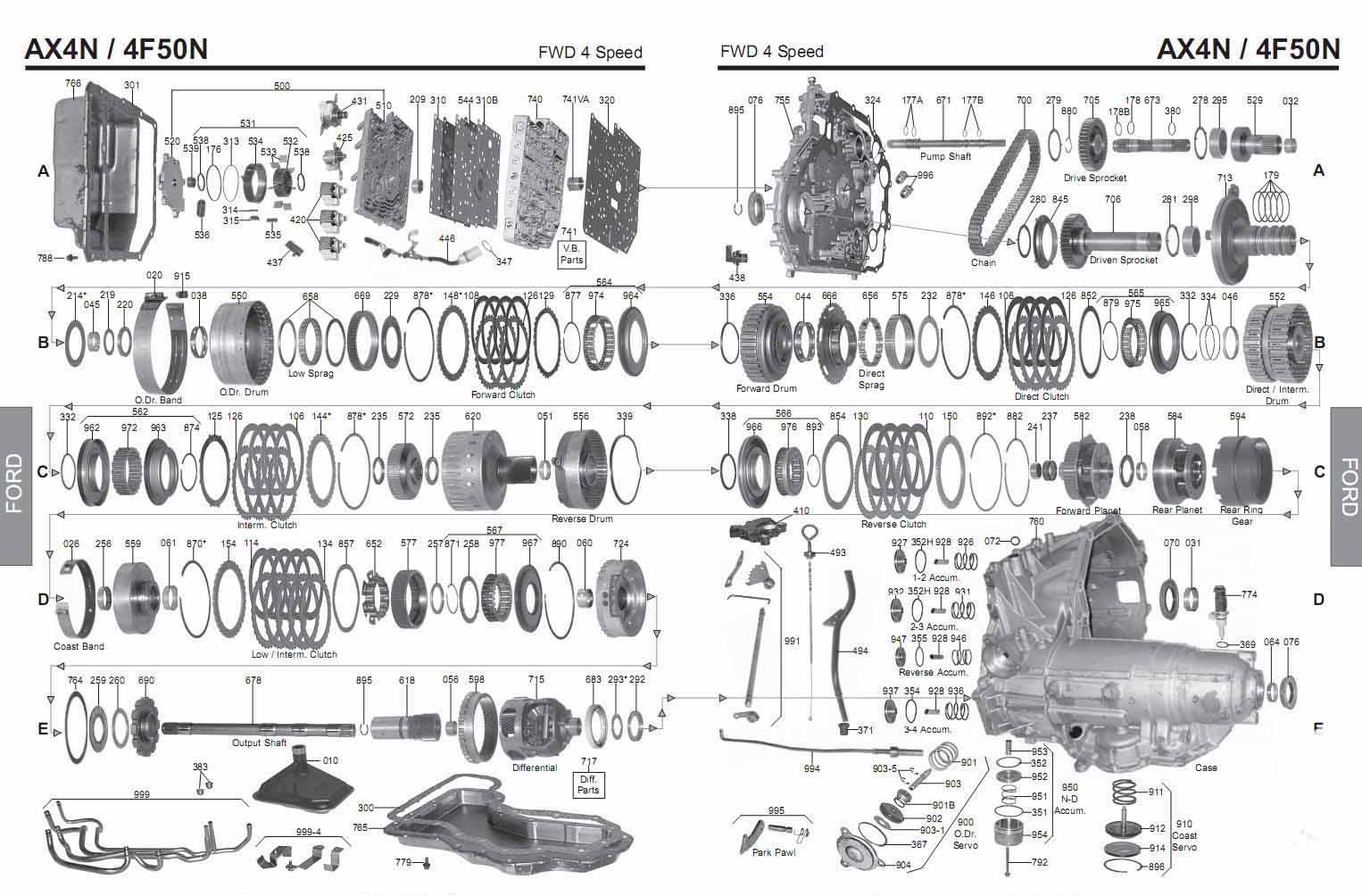 Transmission Repair Manuals Ax4n 4f50n