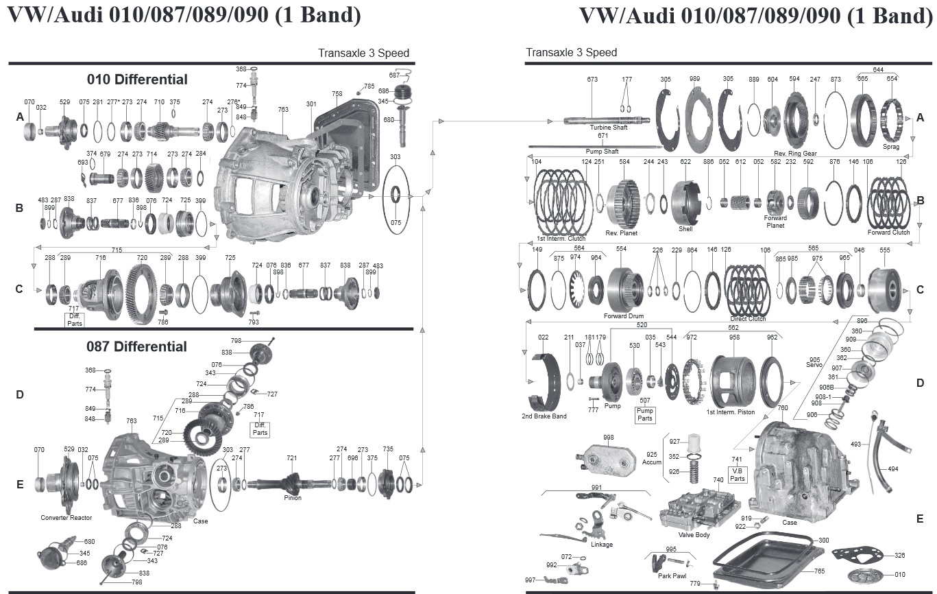 Transmission Repair Manuals 010 Vw Audi 087 089 090