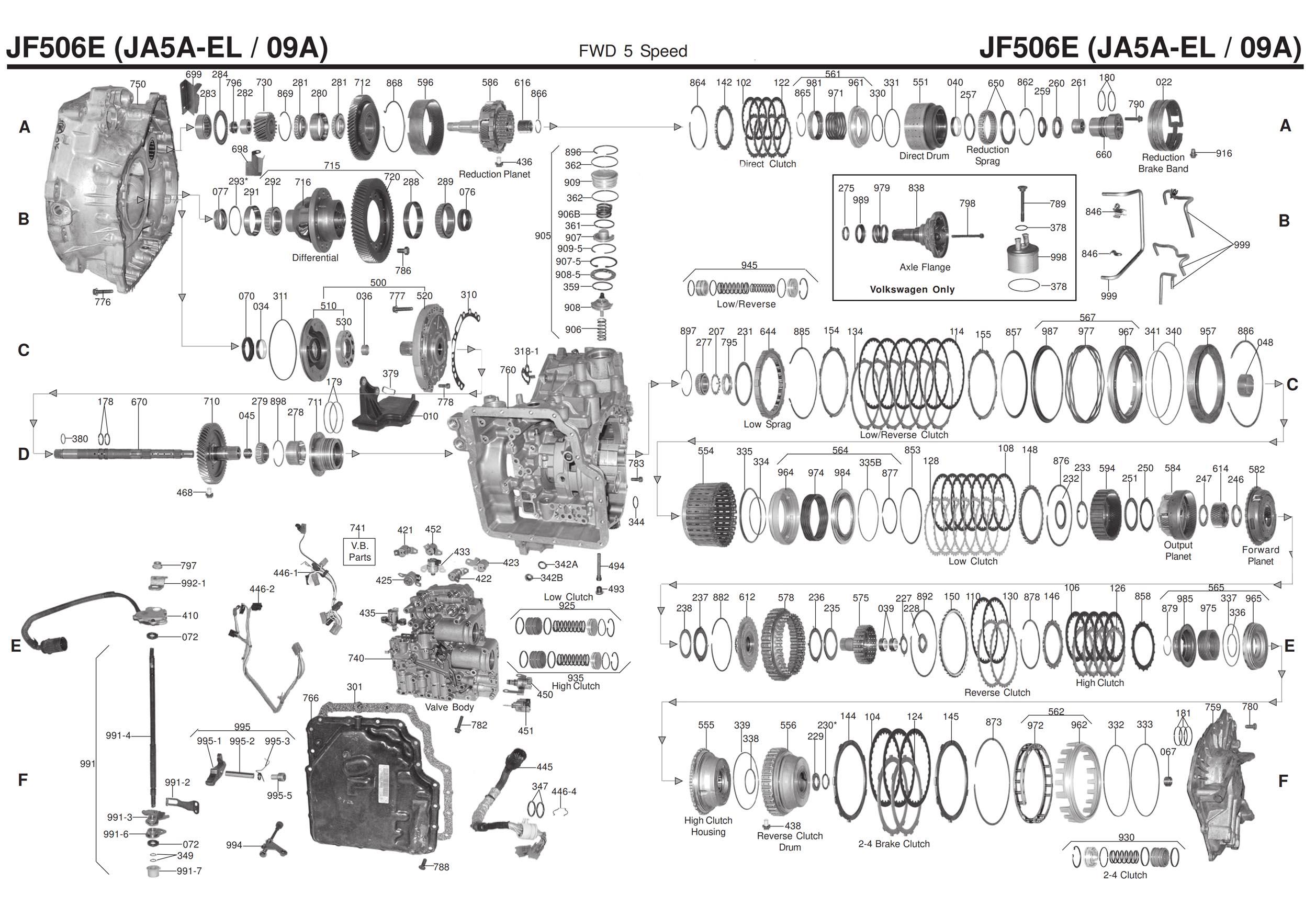 Transmission Repair Manuals 09a Vw Jf506e Ja5a El