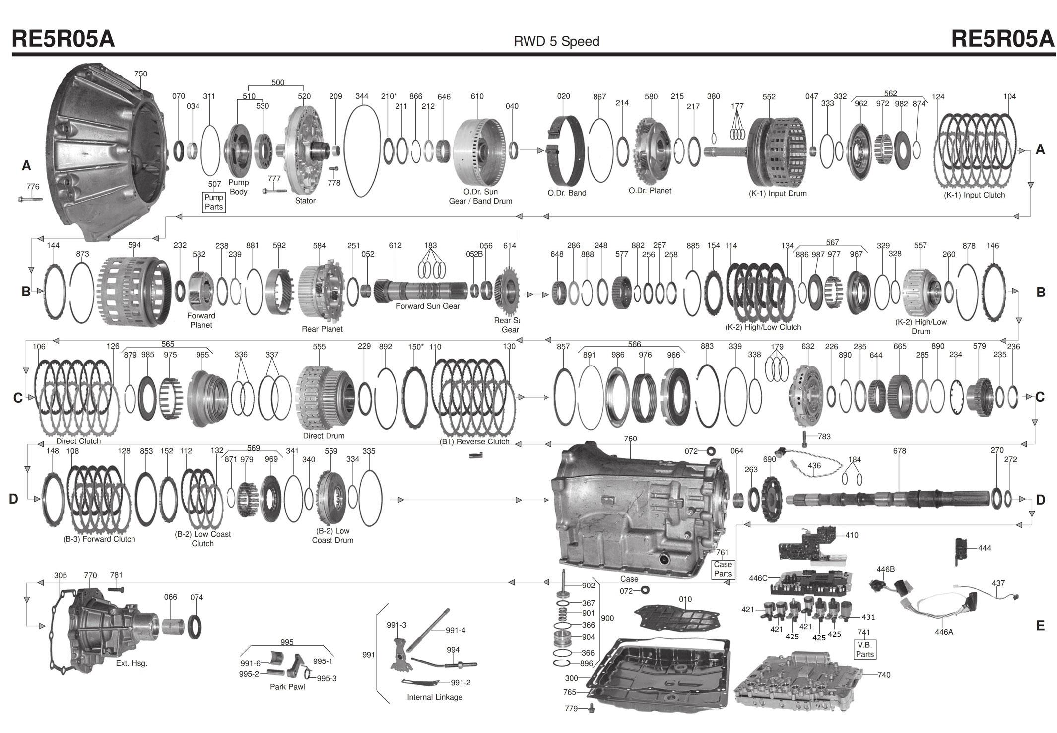 Transmission Repair Manuals Re5r05a Jr507e
