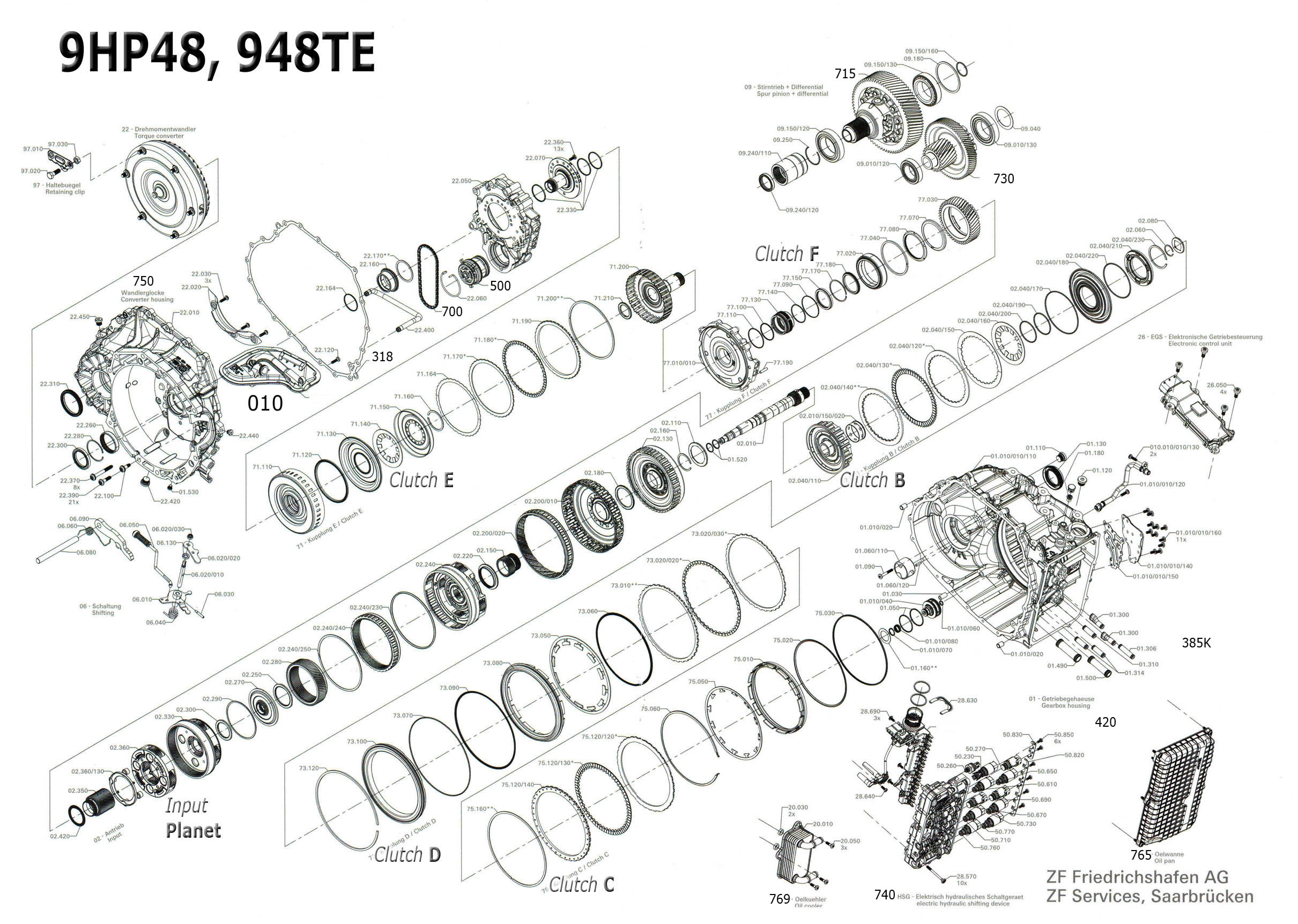 Transmission Repair Manuals Zf9hp48 948te