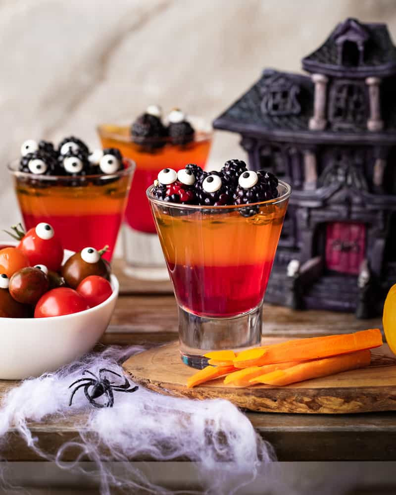 cups if jello for a healthy Halloween snack