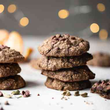 stack of cookies with lights in the background
