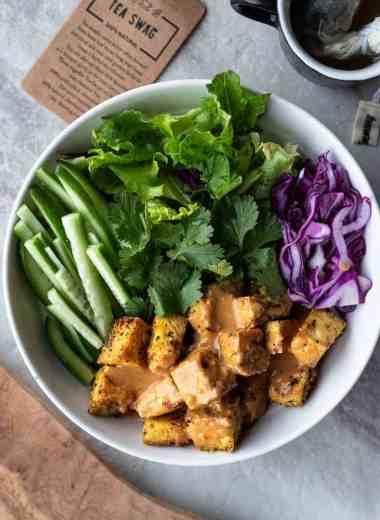 Bowl of peanut tofu and fresh veggies