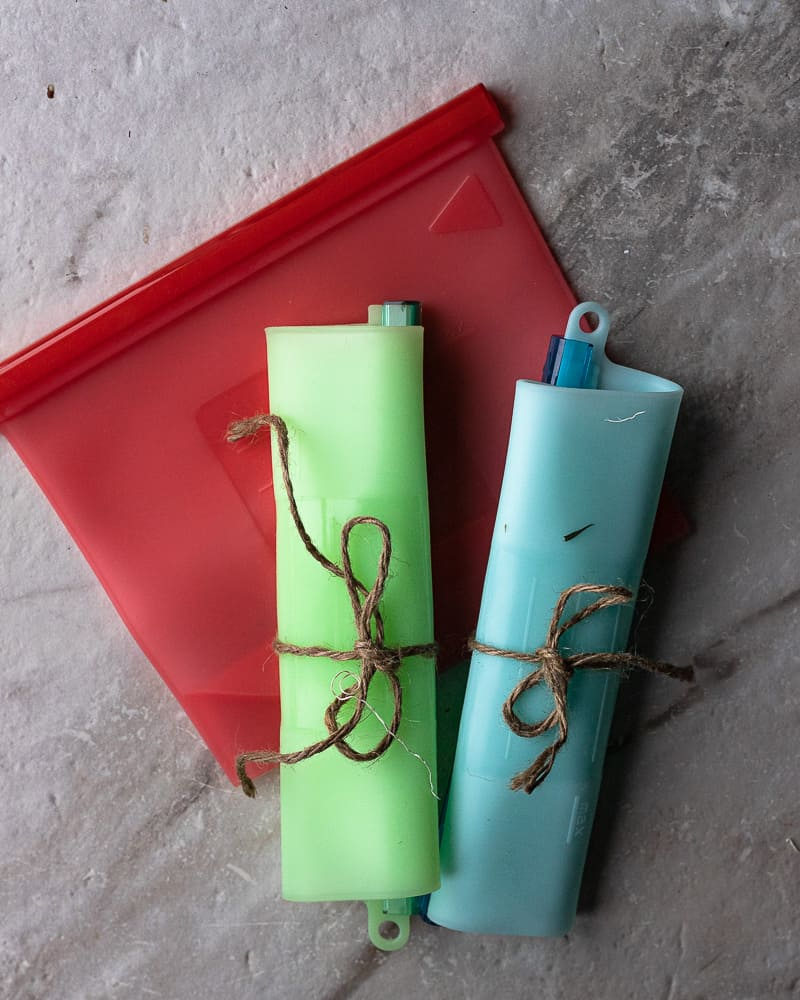 Silicon freezer bags in red, blue, and green