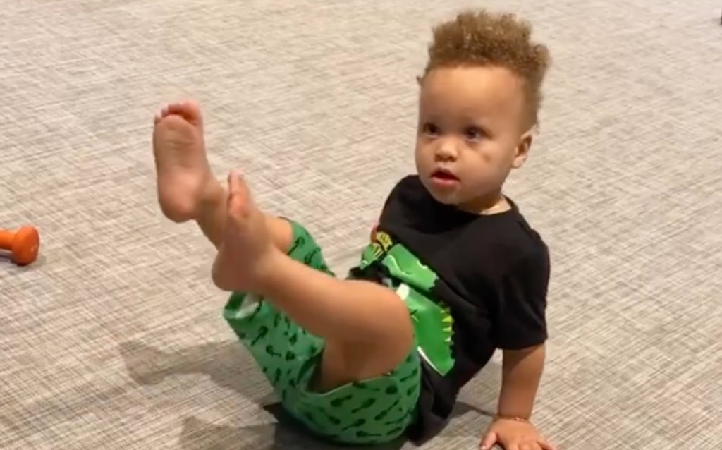 Stephen Curry Staying Active in Home Gym, But His 1-Year-Old Son Is Showing Him Up