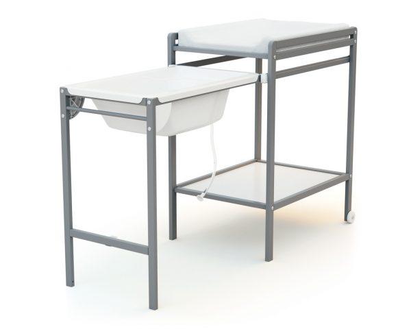 table a langer avec baignoire essentiel gris