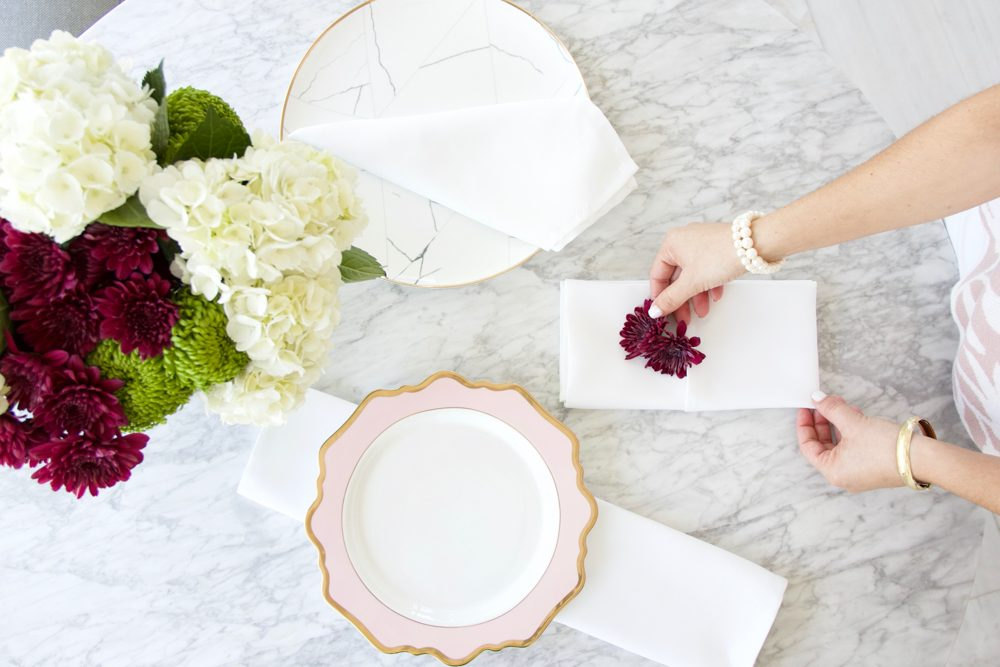 A Table to Love, How to fold a napkin, marble charger and blush plate