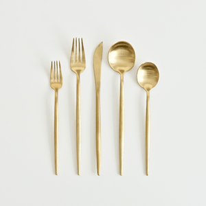 A Table to Love, Gold flatware for sale. Gold silverware for rent.