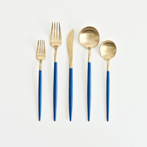 A Table to Love, Blue and gold cutlery for sale and rent