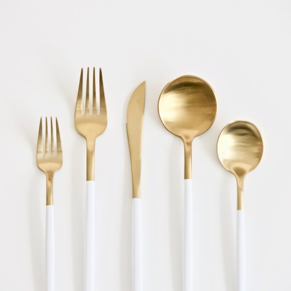 Atabletolove, rent white and gold flatware