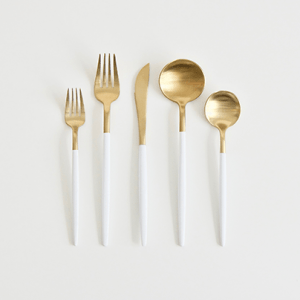 A Table to Love, White and gold silverware, shop flatware