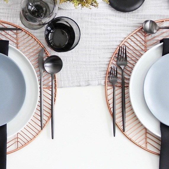 A Table to Love, black flatware for rent, luxury silverware rental