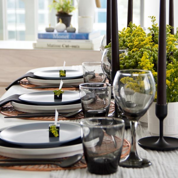 A Table to Love, tableware rental, copper charger and grey glassware for rent