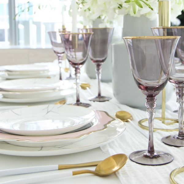 Atabletolove, Tabletop rental, marble plates, grey glassware with gold rims