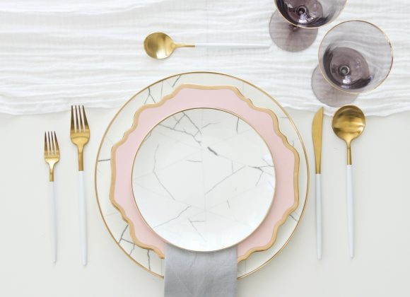 A Table to Love, table top rental with marble patterns, blush silhouettes and gold details. Tablescape idea will set the game of tableware for rent