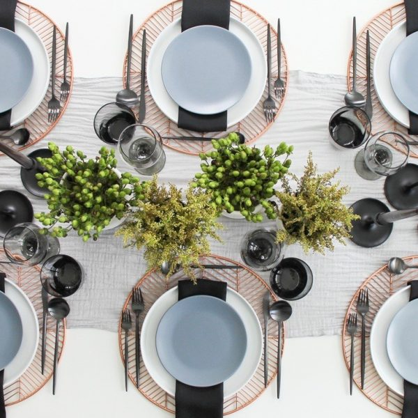 A Table to Love, copper, black and grey dinner party ideas