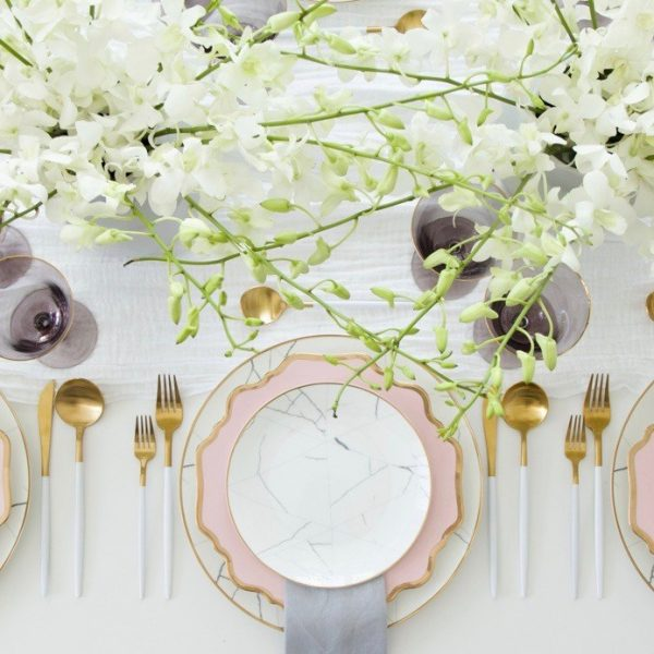 A Table to Love, Marble, pink and gold tableware for rent
