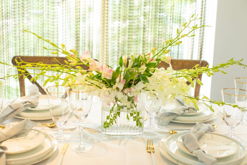 A Table to Love, green white and blush flowers