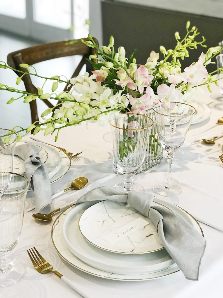 A Table to Love, Marble and gold baptism decorations
