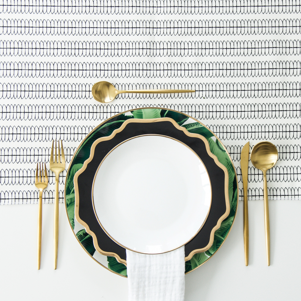 A Table to Love, Tropical dinnerware with gold flatware