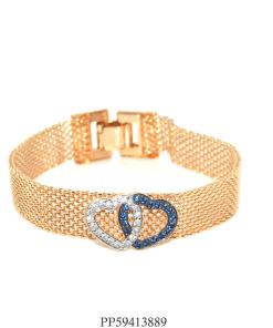 Pulseira luxo de malha com coração de zircônia branca e azul-0