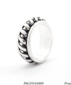 Anel prata 950 giratório trançado-0