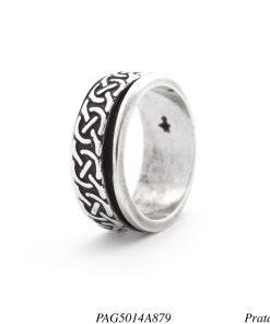 Anel prata 925 giratório com círculos -0