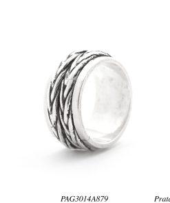 Anel prata 950 com ranhuras giratório -0