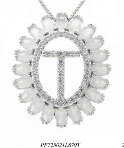 Colar luxo mandala com letra T de zircônia branca leitosa em banho de ródio-0