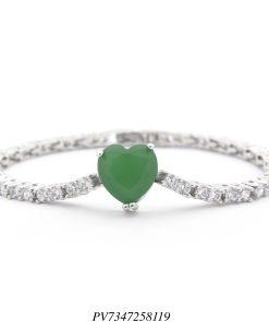 Pulseira riviera luxo com pingente de coração de zircônia verde esmeralda e branca em banho de ródio-0