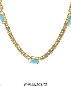 Gargantilha Choker luxo riviera com zircônia branca e azul céu em banho de ouro 18k-0