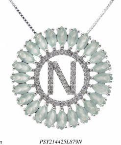 Colar luxo mandala com letra N de zircônia verde claro leitosa em banho de ródio-0