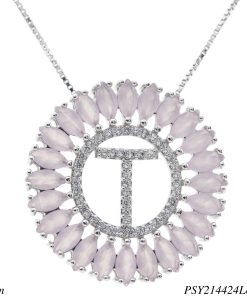 Colar luxo mandala com letra T de zircônia rosa leitosa em banho de ródio-0