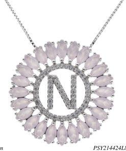 Colar luxo mandala com letra N de zircônia rosa leitosa em banho de ródio-0