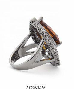 Anel luxo gota de cristal laranja detalhado com zircônia branca em banho de ródio negro-12410