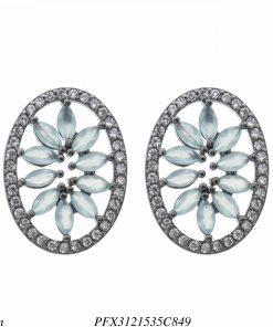 Brinco luxo oval com pétalas de zircônia azul céu e branca em banho de ródio negro-0