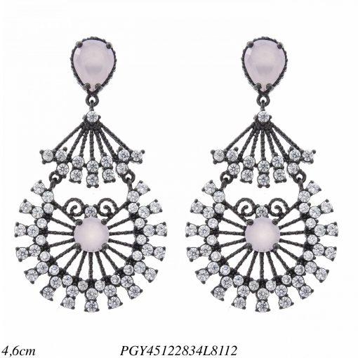 Brinco luxo Desire com zircônia branca e rosa leitosa em banho de ródio negro-0