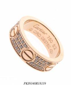 Anel aço super luxo Cartier Love com 3 fileiras de zircônia branca em banho de ouro rosé-0